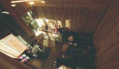 Vue de dessus de l'intérieur de la cabana
