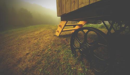 Une roue de wagon de berger